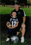 Junior Pee Wee Quarterback Clark Baker and Coach Kevin Baker