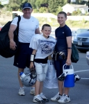 Kevin Baker taking the Fabulous Baker Boys to football practice on September 8, 2009.